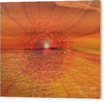 Sunset With Flower By Saribelle Rodriguez Wood Print by Saribelle Rodriguez