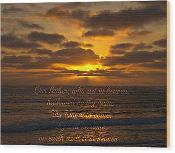 Sunset With Prayer Wood Print by Sharon Soberon