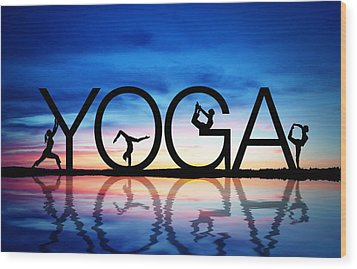 Sunset Yoga Wood Print by Aged Pixel