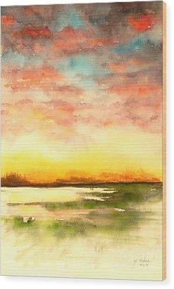 Sunset Wood Print by Yoshiko Mishina
