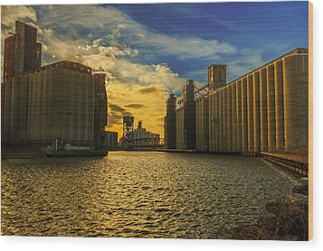 Sunsets On A River Through An Industrial Canyon Wood Print