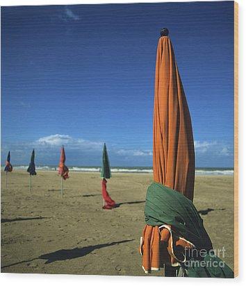 Sunshade On The Beach. Deauville. Normandy. France Wood Print by Bernard Jaubert