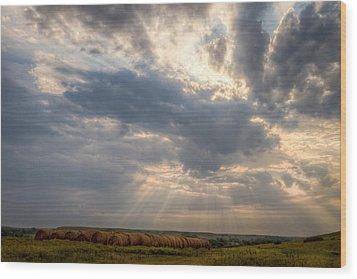 Sunshine And Hay Bales Wood Print by Scott Bean