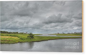 Sunshine And Heavy Clouds Over Dennisport Wood Print by Michelle Wiarda