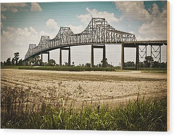 Sunshine Bridge Mississippi Bridge Wood Print by Ray Devlin