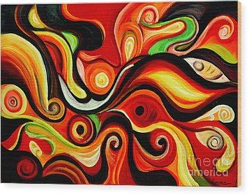 Sunshine Magic - Abstract Oil Painting Original Modern Contemporary Art House Wall Deco Wood Print by Emma Lambert
