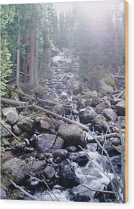 Sunshine On Brook Wood Print