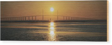 Wood Print featuring the photograph Sunshine Skyway Bridge Sunrise by Steven Sparks