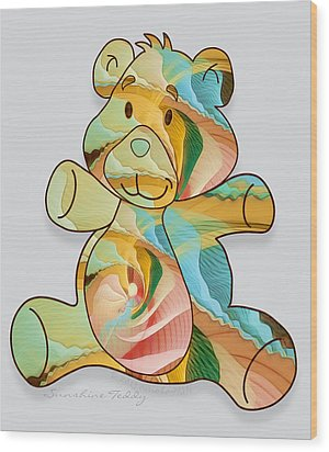 Sunshine Teddy Wood Print by Gayle Odsather