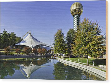 Sunsphere In The Fall Wood Print