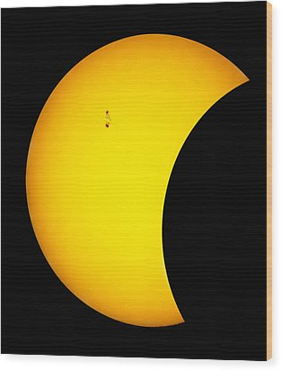 Sunspots During Partial Eclipse.    Wood Print