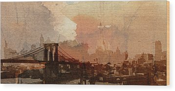 Sunsrise Over Brooklyn Bridge Wood Print by Steve K
