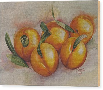 Sunstruck Peaches Wood Print by Tracy Male