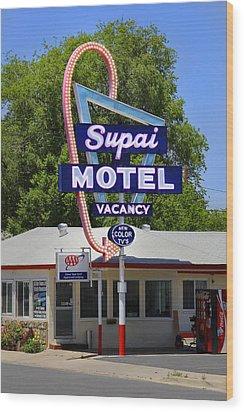 Supai Motel - Seligman Wood Print by Mike McGlothlen