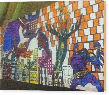 Super Heroes Wood Print by Mj  Museum