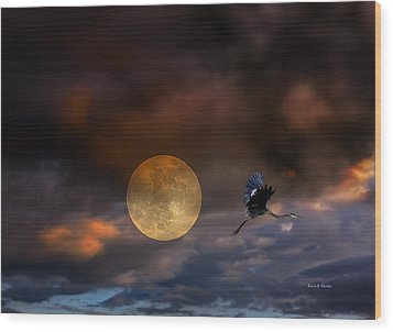 Super Moon 2013 Wood Print by Angela A Stanton