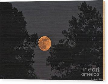 Super Moon Wood Print by Marc Mesa