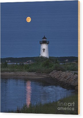 Super Moon Over Edgartown Lighthouse Wood Print by Mark Miller