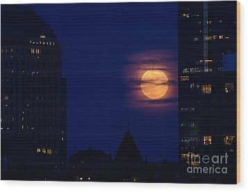 Wood Print featuring the photograph Super Moon Rises by Mike Ste Marie