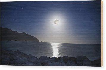 Super Moon Wood Print by Thomas Kessler