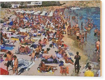 Super Paradise Beach In Mykonos Island Wood Print by George Atsametakis