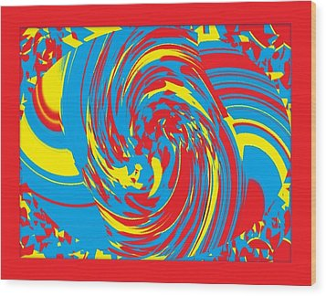 Wood Print featuring the painting Super Swirl by Catherine Lott