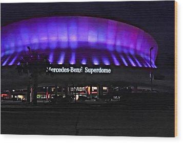 Superdome Night Wood Print by Steve Harrington