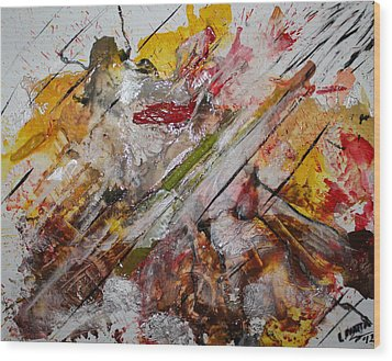Wood Print featuring the painting Superhero Meltdown by Lucy Matta
