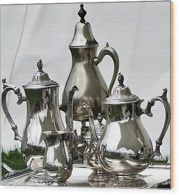 Superior Officers Silverware And Tea Service From  The Stoney Creek War Of  1812 Wood Print by Danielle  Parent