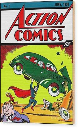 Superman Comic Book -1938 Wood Print by Doc Braham