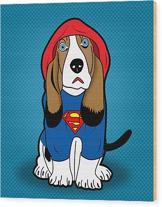 Superman Dog  Wood Print by Mark Ashkenazi