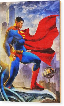 Superman Wood Print by Elizabeth Coats