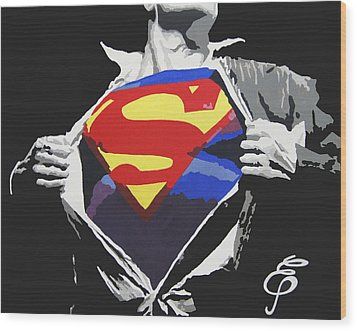 Superman Wood Print by Erik Pinto