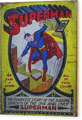 Superman Wood Print by Mitch Shindelbower