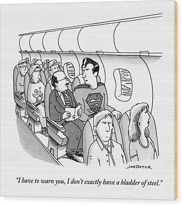 Superman Sits In A Plane Next To A Businessman Wood Print by Joe Dator