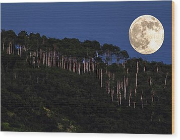Supermoon Over Moon Hill Wood Print