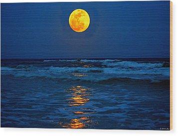 Supermoon Rising On Navarre Beach 20120505c Wood Print by Jeff at JSJ Photography