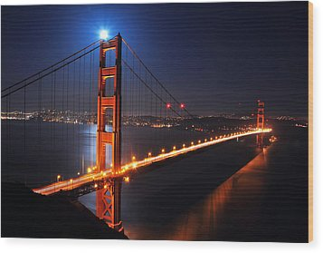 Supermoon Shining On Top Of The Golden Gate Bridge Wood Print