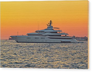 Superyacht On Yellow Sunset View Wood Print by Brch Photography
