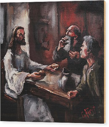 Supper At Emmaus Wood Print