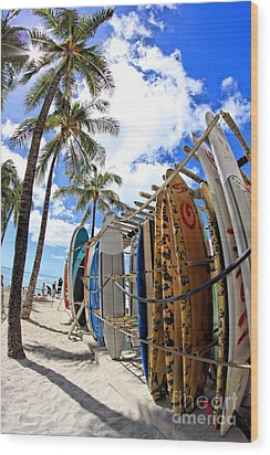 Surf And Sun Waikiki Wood Print