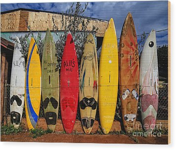 Surf Board Fence Maui Hawaii Wood Print by Edward Fielding