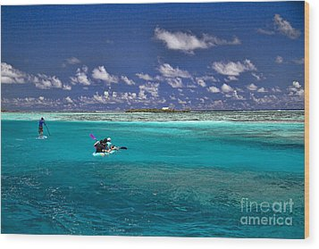 Surf Board Paddling In Moorea Wood Print by David Smith