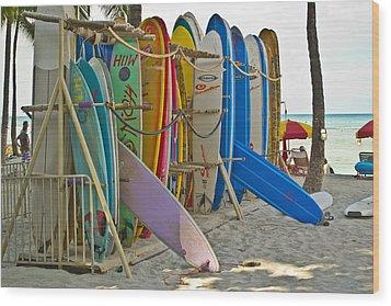 Surf Boards Wood Print by Matt Radcliffe