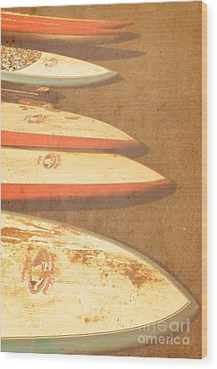 Surf Boards On Beach Wood Print
