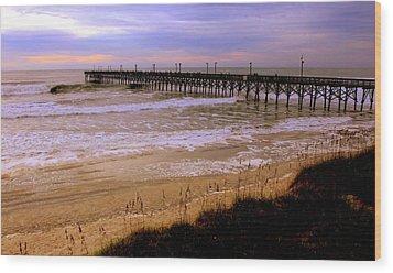 Surf City Pier Wood Print by Karen Wiles