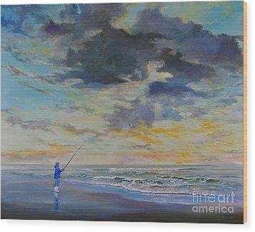 Surf Fishing Wood Print by AnnaJo Vahle