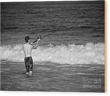 Surf Fishing Wood Print by Mark Miller