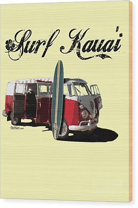 Surf Kauai Wood Print