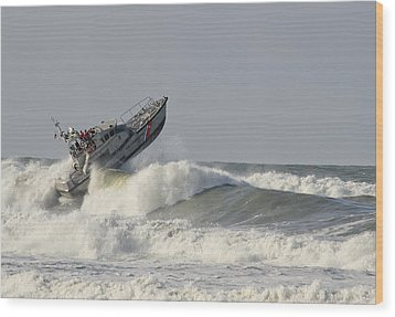 Surf Rescue Boat Wood Print